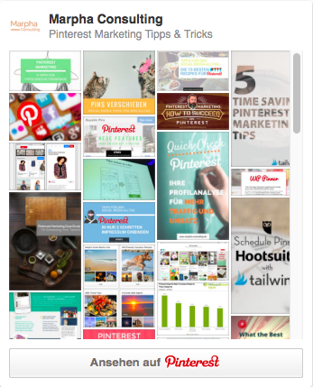 "Widget für die Pinnwand ""Pinterest Marketing Tipps & Tricks"""